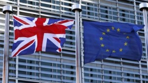 Flags of UK and EU in Brussels